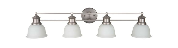 "Jeremiah Lighting 198324-WG Light Rail 4 Light Bathroom Vanity Light - 35"" Wide Brushed Satin Nickel Indoor Lighting Bathroom Fixtures Vanity Light"