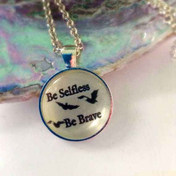 "Divergent ""Be Brave Be Selfless"" Flying  Birds Tattoo Hunger Games inspired Glass Pendant Charm Necklace on Etsy, $13.00 #divergent #divergentjewelry"
