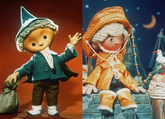 The popular children's television character Sandmännchen in both his East German and West German versions, Germany, 1970-80, photographers unknown.