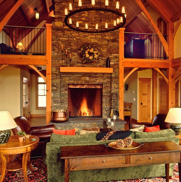 Mountain fieldstone fireplace i like the copper accent in for Field stone fireplace