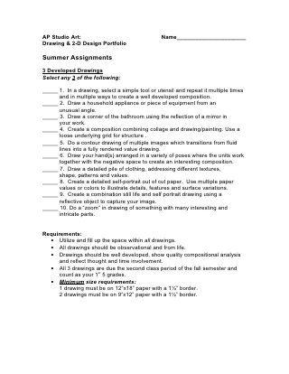 Ap studio art drawing & 2-d design summer assignment info. 2010-website
