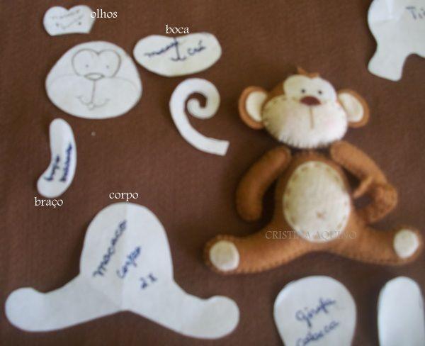 Could adapt to finger puppet.FOFURAS DE FELTRO by CRISTINA AQUINO: MOLDE DOS BICHINHOS DA SELVA