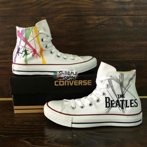 593108daf106 Men Women the Beatles Converse All Star Hand Painted Canvas Sneakers ...