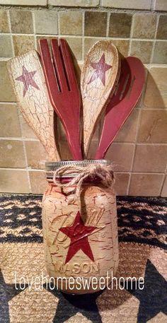 Primitive Crackle Tan & Barn Red Star Mason Jar & Wood Utensils Country Decor | Mason Jar Crafts