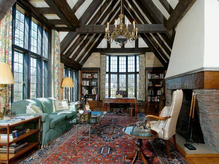 English tudor living room tudor style house homes for Tudor style fireplace