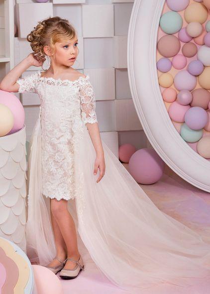 Elfenbein Spitze knielangen Blumenmädchen Kleid mit abnehmbarem Tüll Zug   – Anna