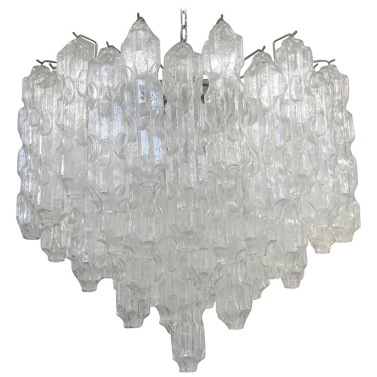 Large 1960s Chandelier with Abstract Sculptural Glass
