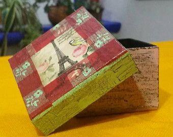 Caja porta Kleenex chica en color verde menta por ArteManualidades