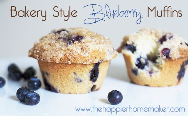 The Best Bakery Style Blueberry Muffins-super easy and soooo good! via The Happier Homemaker