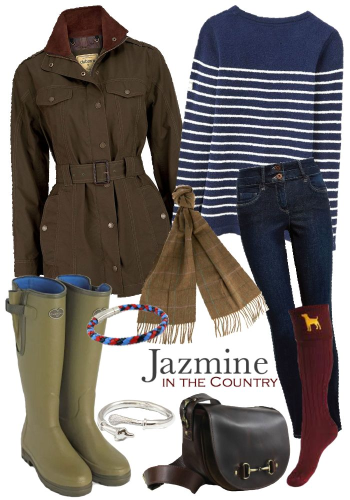 {Autumnal Outfit 3} Jacket - Dubarry Swift Waterproof Jacket in Olive Jumper - Joules Seaham Chenille Jumper in French Navy Jeans - Next Lift, Slim And Shape Skinny Jeans in Dark Blue Socks - House of Cheviot Lady Buckminster Socks in Burgundy Wellies - Le Chameau Vierzonord Neoprene Lined Welly in Vert Vierzon Bag - Grays Haston Bag in Dark Brown Leather/Suede Scarf -  Barbour Sporting Tweed Scarf in Olive Plaid Bangle - Hiho Silver Sterling Silver Fox Bangle Bracelet - Hiho Silver Help for…