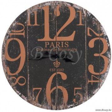 """J-Line Wandwandklok paris 1592 hout zwart-roest ø80 <span style=""""font-size: 0.01pt;"""">Jline-by-Jolipa-55950-horloge-vintage-paris-en-bois-vieilli-noir-et</span>"""