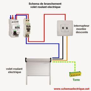 schema branchement cablage  volet roulant electrique