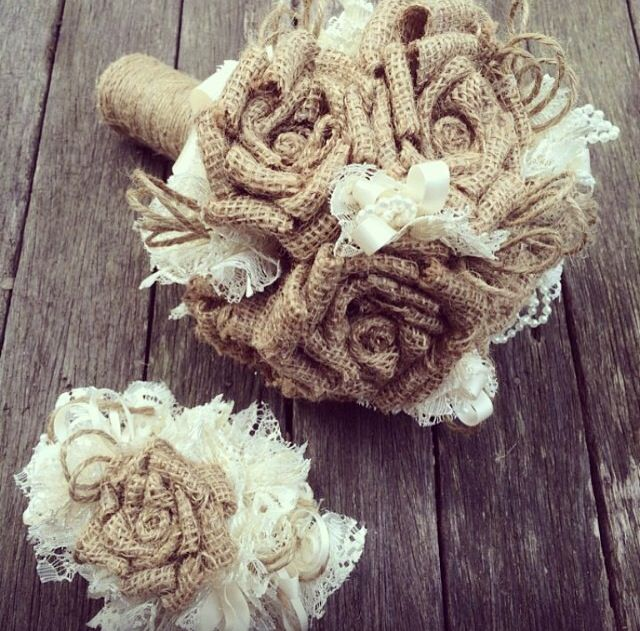 For that rustic wedding! Handmade burlap roses...8 rosebuds wedding bouquet with a matching hair slide! Colours of ribbon made to order .... Now on Etsy!!! Vintagelabelle77