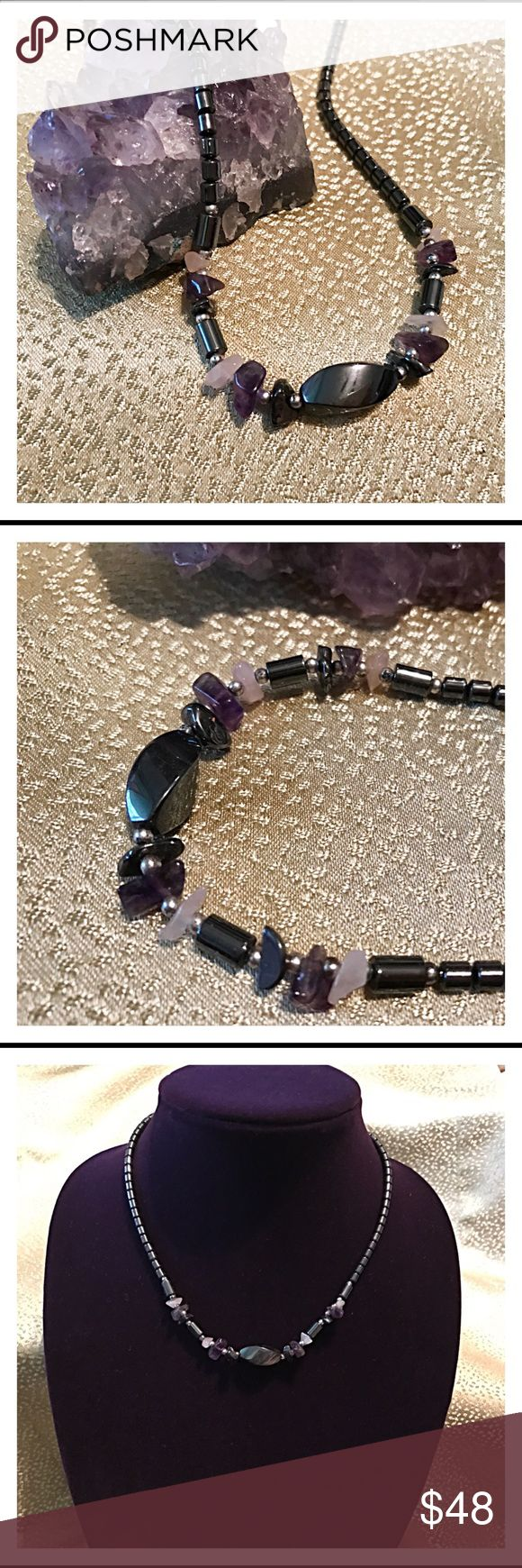 Amethyst & Hematite Two Fantastic stones! Amethyst helps inner peace, calmness & reduces stress.  Hematite helps eliminate electromagnetic pollution from your computer & electronic devices.  I keep both at my Computer. This is a Necklace, so you can wear it while working & leave it there for the next day.  Be sure to cleanse the stones weekly. Just leave it in direct sunlight.    Bundle 3 or more 10% discount  Thanks!! Tazzzygurl (Amethyst Rock is not for sale) Jewelry Necklaces
