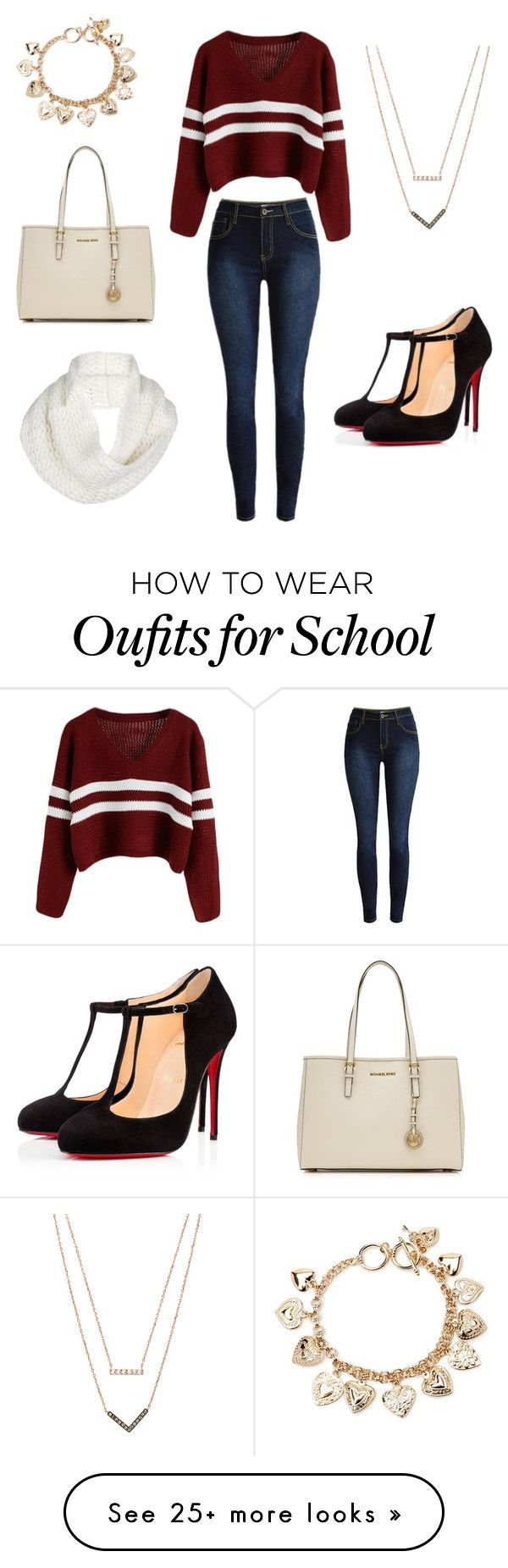 High School by annadva on Polyvore featuring Christian Louboutin, Michael Kors, Forever 21, UGG Australia, MICHAEL Michael Kors, womens clothing, womens fashion, women, female and woman