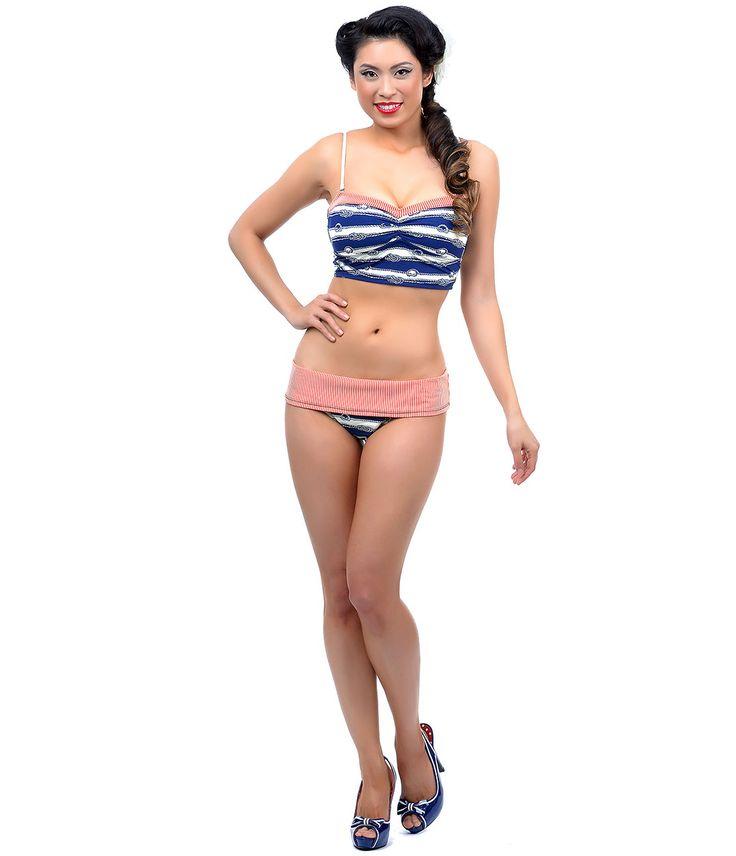 Blue, Red & Cream Striped Nautical Bandeau Bikini #uniquevintage
