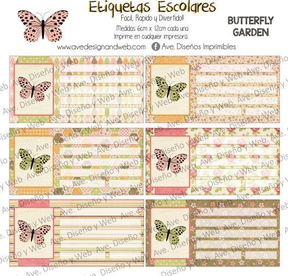 Mariposas Etiquetas para Cuadernos por AVeDisenoImprimible en Etsy