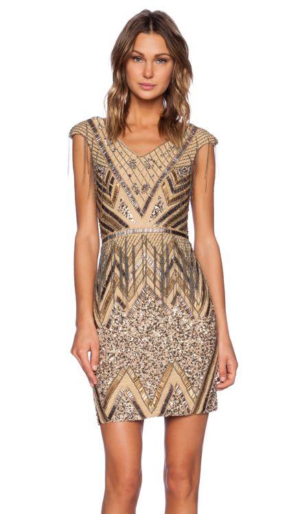 La Maison Sequin V-Neck Dress in Silver & Gunmetal | REVOLVE