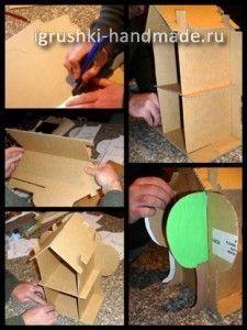 делаем домик для кукол из картонной коробки своими руками
