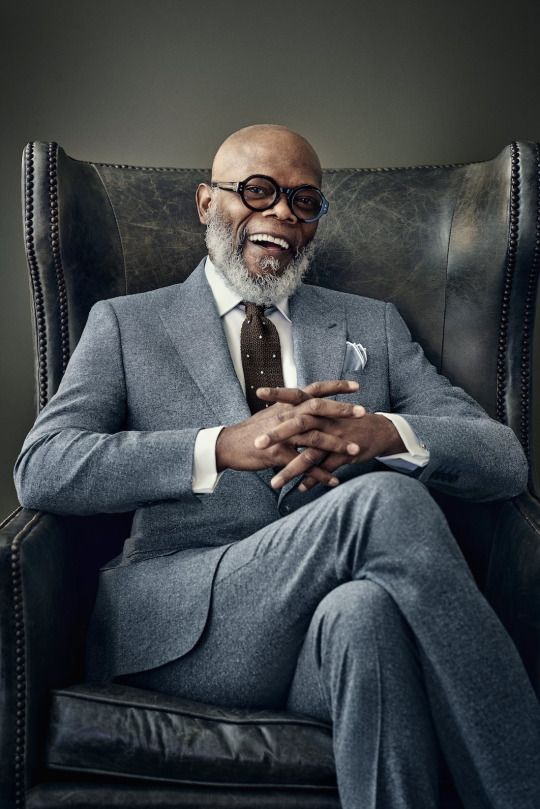 Samuel L. Jackson in Gieves & Hawkes. The Rake photo shoot.