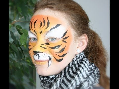 ▶ Tiger face painting tutorial - Tiger makeup - YouTube
