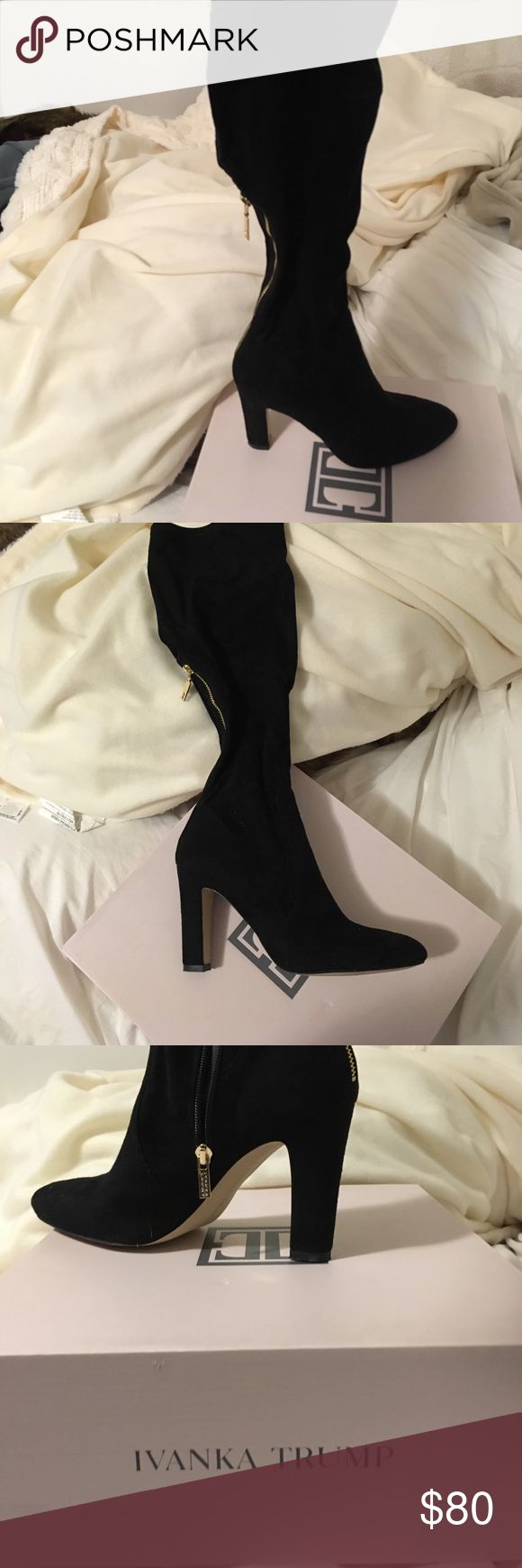 Ivanka Trump Black Suede Boots Ivanka Trump Black Suede Boots - New! Only worn around the house to try them on! Super cute gold zipper up the back - perfect for spring and fall! Ivanka Trump Shoes Heeled Boots
