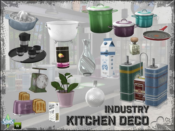 A bunch of clutter and needfull things to decorate a kitchen... Found in TSR Category 'Sims 4 Decorative Sets'
