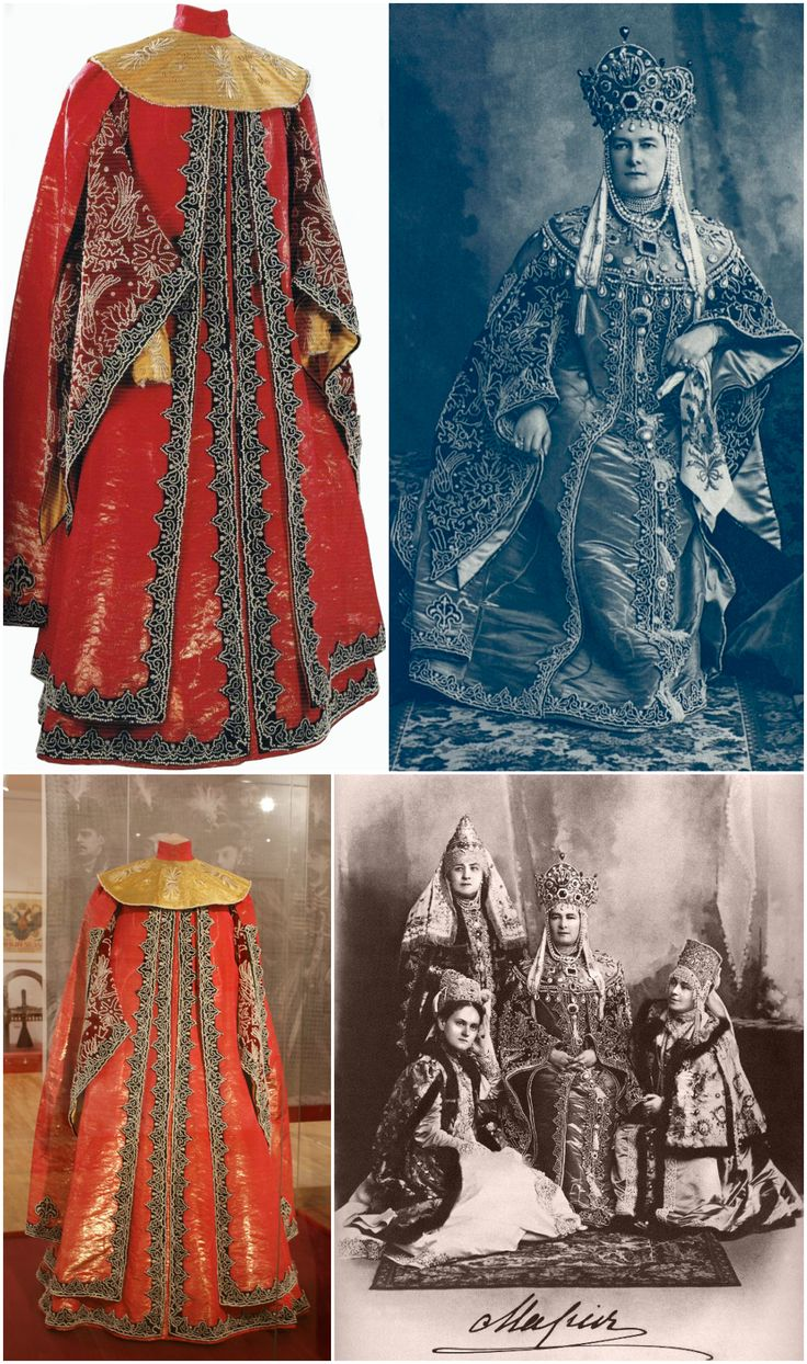 Masquerade dress worn by Grand Duchess Maria Pavlovna for the 1903 costume ball at the Winter Palace. Made by E. T. Ivanov, dressmaker, St. Petersburg, Russia, in 1903. Owned by the State Museum of the History of St. Petersburg. Brocade, velvet, silk, gauze, brocade, beads, string, tinsel, embroidery. Photos (clockwise from top left): State Museum of the History of St. Petersburg; Wikimedia Commons (Photographer: L. S. Levitsky, 1903); Wikimedia Commons; tmima52 on Live Journal.