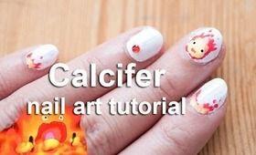 nails soot balls | Calcifer nail art tutorial | Howl's Moving Castle
