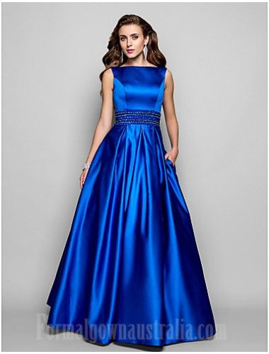 731cb167a55 Australia Formal Evening Dress Prom Gowns Military Ball Dress Royal Blue  Plus Sizes Dresses Petite Ball Gown A-line Bateau Long Floor-length Satin  Formal ...