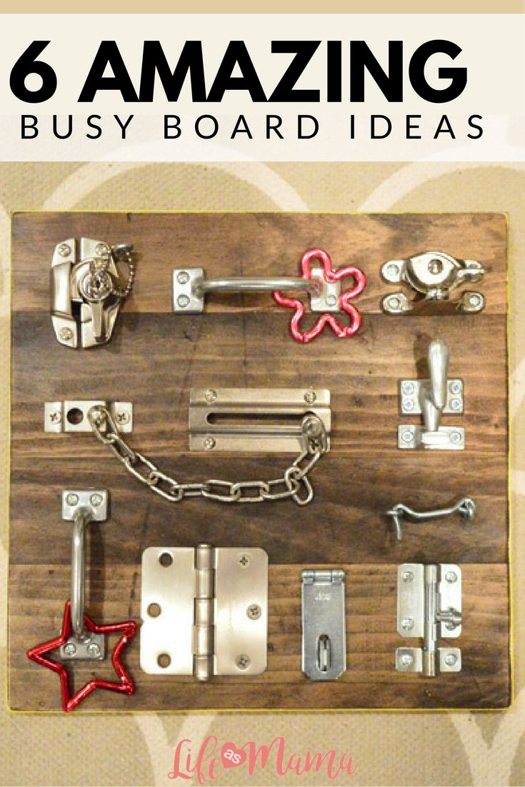 A great way to keep your toddler entertained, learning and just plain busy is to build them a busy board! All you need is a piece of wood and any odds and end that toddlers love to play with: locks, light switches, door stoppers, wheels, bells- you name it!