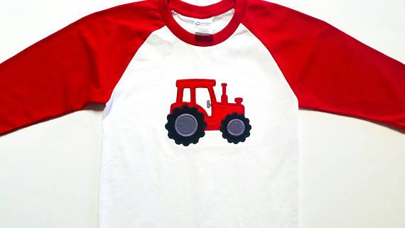 Tractor Shirt - Numbers 1-9 - Boys Birthday Shirt - Farm Birthday - Gift For Boys - Embroidered Shirts - Red Tractor - Tractor Party by sweetbabycakesbows. Explore more products on http://sweetbabycakesbows.etsy.com