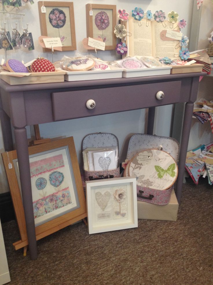 Jennyrosemann display table in Handmade Boutique painted using the Autentico Chalk Paint in Amethyst www.handemade-boutique.co.uk