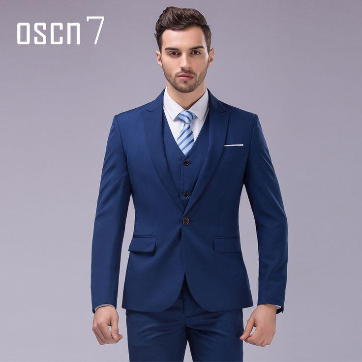 OSCN7 3pcs 12 Color Suit Men Slim Fit Notch Lapel Business Mens Suit Wedding Groom Dress Suits For Men (blazer+vest+pants) S-4XL