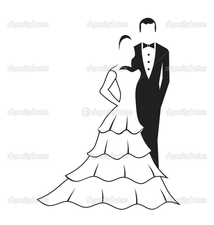 Bride and Groom Dancing Silhouette | Bride and Groom - Stock Illustration
