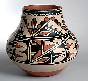 polychrome pot by Maria Martinez, San Ildefonso Pueblo, c. 1920's