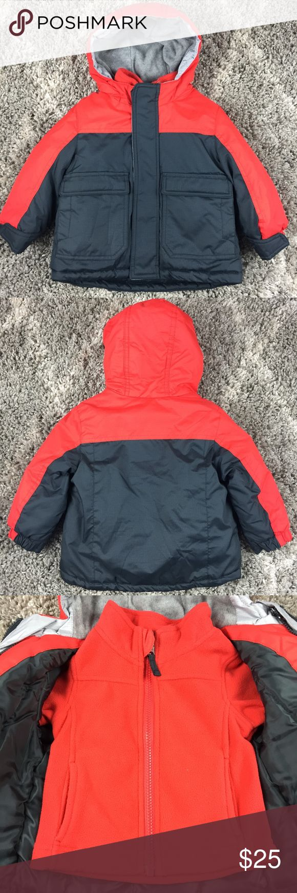Healthtex Baby Boy's 3 in 1 Hooded Jacket Healthtex Baby Boy's Gray Orange Hooded 3 In 1 Jacket Gray  Size: 12 Months Condition: Excellent, only worn once  Check out my closet for other baby boy items.   New listings daily, most are new with tags or like new condition. Bundle and Save! Ships in 24 hours Healthex Jackets & Coats