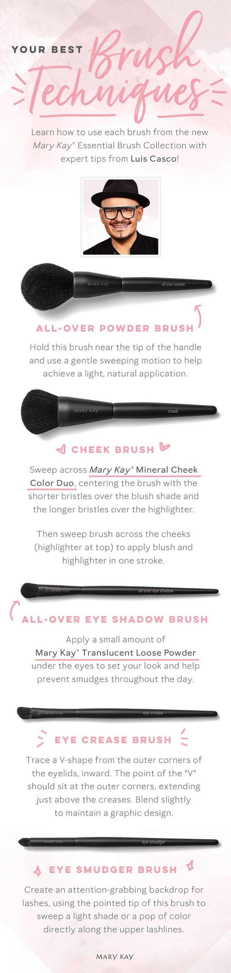 It's time for a beauty brush-up! These expert tips from celebrity makeup artist Luis Casco make foundation, eye and cheek application easy and seamless. | Mary Kay #makeuptips