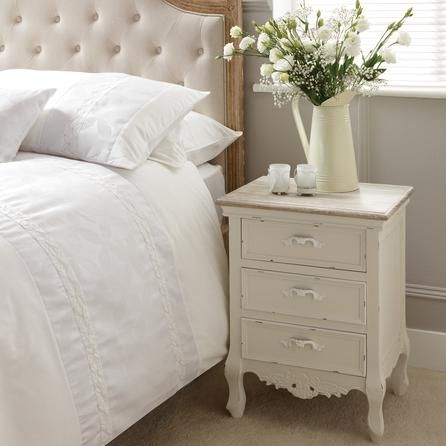 Camille White Bedside Table | Dunelm - £69.99