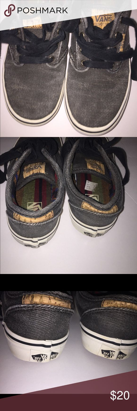 Boys low vans sneakers size 2.5 youth Boys low vans sneakers size 2.5 youth. Grayish black color Vans Shoes Sneakers