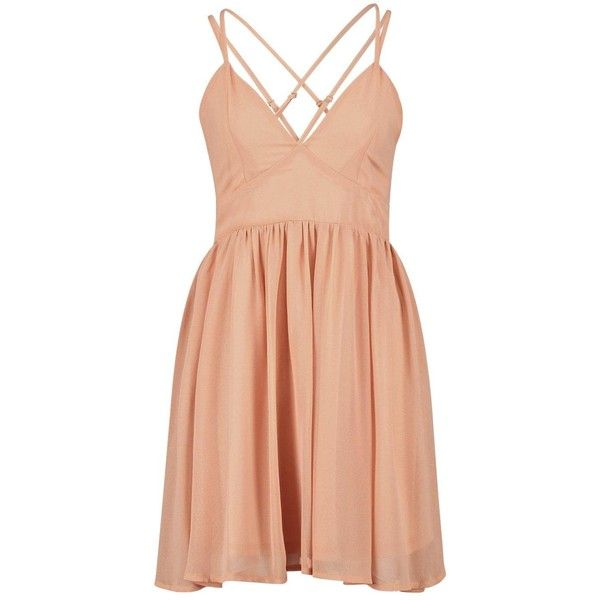 Debbie Metallic Chiffon Strappy Back Skater Dress ($16) ❤ liked on Polyvore featuring dresses, pink, short dress, vestidos, mini dress, pink dress, metallic cocktail dress, pink mini dress and chiffon cocktail dresses