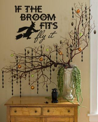 """If The Broom Fits Fly It"" Halloween vinyl lettering decal home decor"