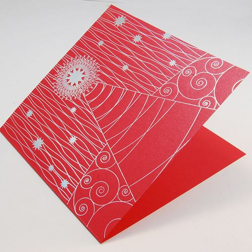Red New Year Corporate Cards UK - Fancy Tree on Red - Polina Perri