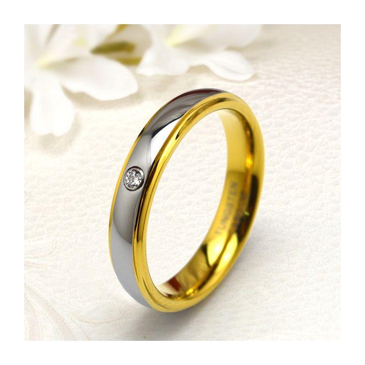 Aranyozott, női köves tungsten karikagyűrű