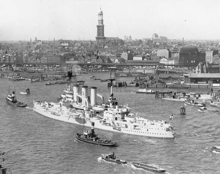 SMS Hessen seen in Hamburg, Germany.  Hessen was launched on Sept. 18, 1903.  Hessen was captured intact (as remote control target ship) after World War 2, taken by the Soviets and  renamed Tsel.  It was then scrapped in the 1950's.