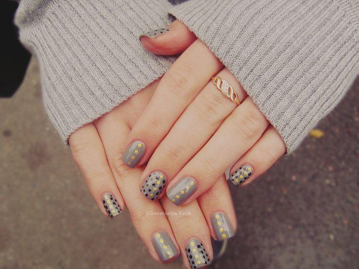 #ногти #маникюр #nail #nails #nailart #anastasiyavolik #nail #nails #nailart #дизайн горошек #точки #черный #золотой #черный_горошек #золотой_горошек #черные_точки #золотые_точки #маникюр_в_образе #маникюр_и_образ #маникюр_под_одежду #peas#point #black #gold #black_polka_dots #gold_polka_dots #black_dots #gold_point #manicure_image #manicures_and_image #manicure_under_clothing #design #серый #серый_цвет #серый_лак #gray #Grey_Colour #gray_nail_polish