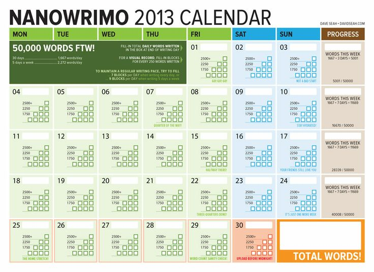 A lovely printable calendar for #NaNoWriMo to help you keep track of your progress.