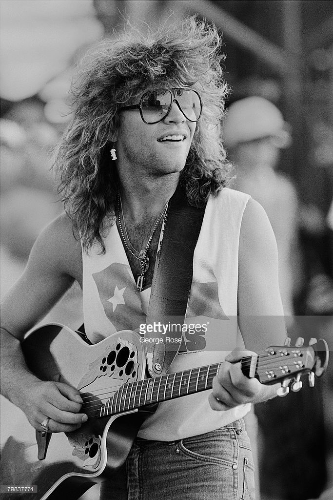 Singer Jon Bon Jovi performs at the 1986 Manor, Texas, Farm Aid II concert. The fundraising concert was organized by Willie Nelson and held in Manor, Texas, located just north of Austin.