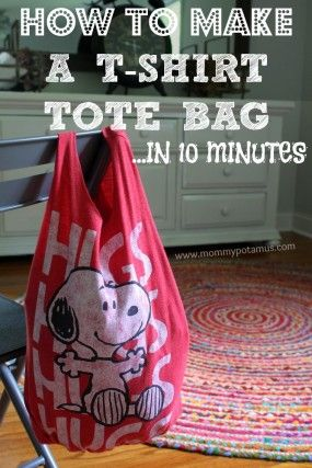 This no sew t-shirt tote bag made from old t-shirts can be whipped up in just ten minutes! It's perfect as a DIY tote or farmer's market bag, and easy enough for kids to make as an indoor activity.