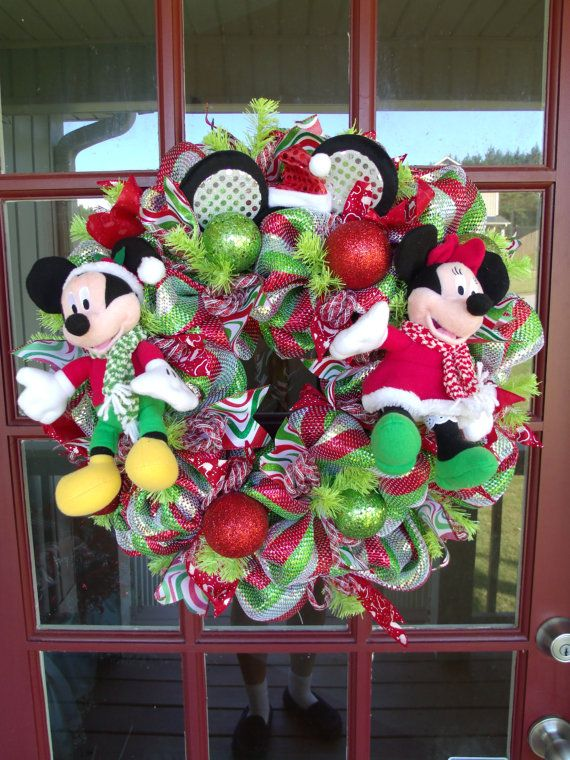 Christmas Disney Deco Mesh Wreath with Santa Mickey and Minnie Mouse on Etsy, $99.00